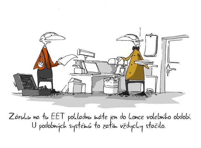 Kreslený vtip: Záruku na EET pokladnu máte jen do konce volebního období. U podobných systémů to zatím vždycky stačilo. Autor: Marek Simon