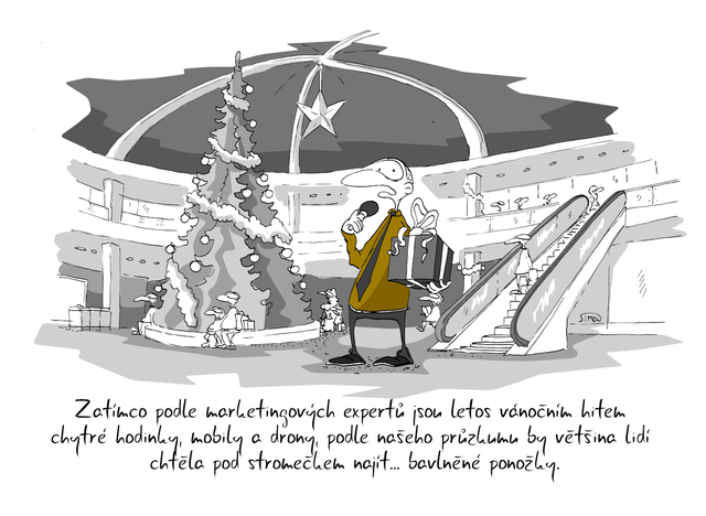Kreslený vtip: Zatímco podle marketingových expertů jsou letos vánočním hitem chytré hodinky, mobily a drony, podle našeho průzkumu by většina lidí chtěla pod stromečkem najít ... bavlněné ponožky. Autor: Marek Simon