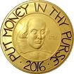 Zlatá mince 5 Oz William Shakespeare 2016 Proof