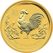 Zlatá investiční mince Year of the Rooster Rok Kohouta Lunární 10 Oz 2017