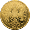 Zlatá investiční mince Stokoruna Františka Josefa I. 1915 (novoražba)