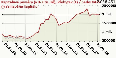 Přebytek (+) / nedostatek (-) celkového kapitálu,Kapitálové poměry (v % a tis. Kč)