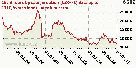 Watch loans - medium-term,Client loans by categorization (CZK+FC)