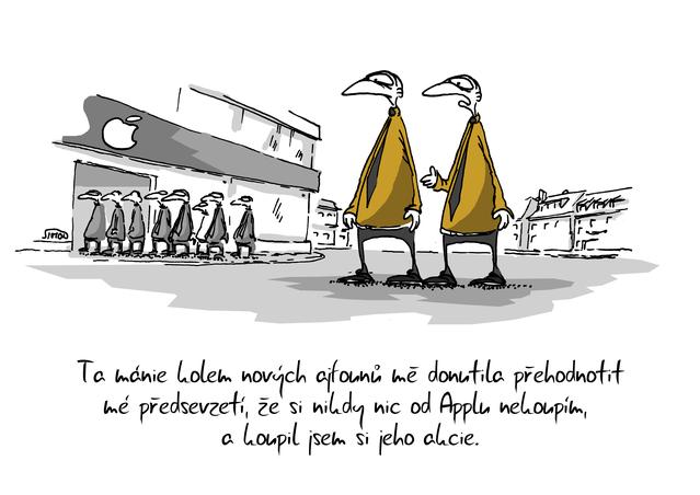 Kreslený vtip: Ta mánie kolem nových ajfounů mě donutila přehodnotit mé předsevzetí, že si nikdy nic od Applu nekoupím a koupil jsem si jeho akcie. Autor: Marek Simon