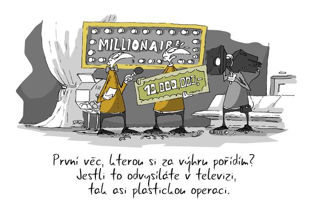 Kreslený vtip: První věc, kterou si za výhru pořídím? Jestli to odvysíláte v televizi, tak asi plastickou operaci. Autor: Marek Simon