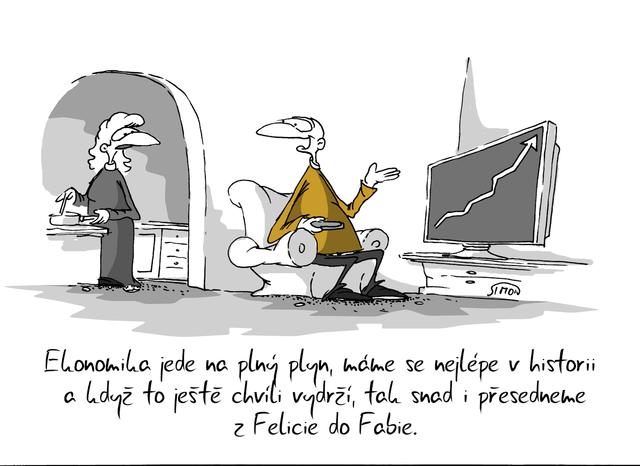 Kreslený vtip: Ekonomika jede na plný plyn, máme se nejlépe v historii a když to ještě chvíli vydrží, tak snad i přesedneme z Felicie do Fabie. Autor: Marek Simon