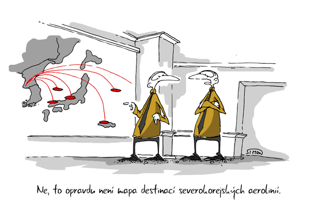 Kreslený vtip: Ne, to opravdu není mapa destinací severokorejských aerolinií. Autor: Marek Simon