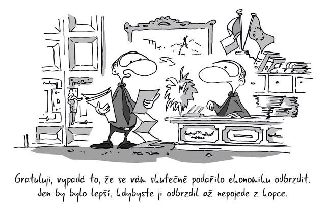 Kreslený vtip: Gratuluji, vypadá to, že se vám skutečně podařilo ekonomiku odbrzdit. Jen by bylo lepší, kdybyste ji odbrzdil až nepojede z kopce. Autor:Marek Simon