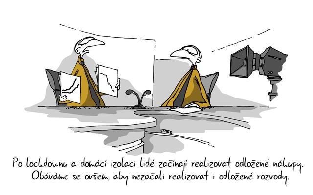 Kreslený vtip: Po lockdownu a domácí izolaci lidé začínají realizovat odložené nákupy. Obáváme se ovšem, aby nezačali realizovat i odložené rozvody. Autor: Marek Simon