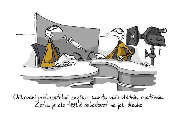 Kreslený vtip: Opatření prokazatelně zvyšuje imunitu vůči vládním opatřením. Zatím je ale těžké odhadovat na jak dlouho. Autor: Marek Simon