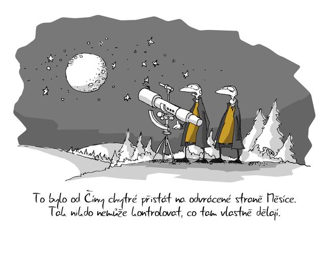 Kreslený vtip: To bylo od Číny chytré přistát na odvrácené straně Měsíce. Tak nikdo nemůže kontrolovat, co tam vlastně dělají. Autor: Marek Simon