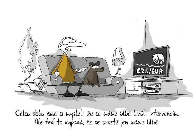 Kreslený vtip: Celou dobu jsme si mysleli, že se máme blbě kvůli intervencím. Ale teď to vypadá, že se prostě jen máme blbě. Autor: Marek Simon
