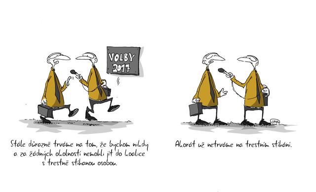 Kreslený vtip: Stále důrazně trváme na tom, že bychom nikdy a za žádných okolností nemohli jít do koalice s trestně stíhanou osobou. Akorát už netrváme na trestním stíhání. Autor: Marek Simon