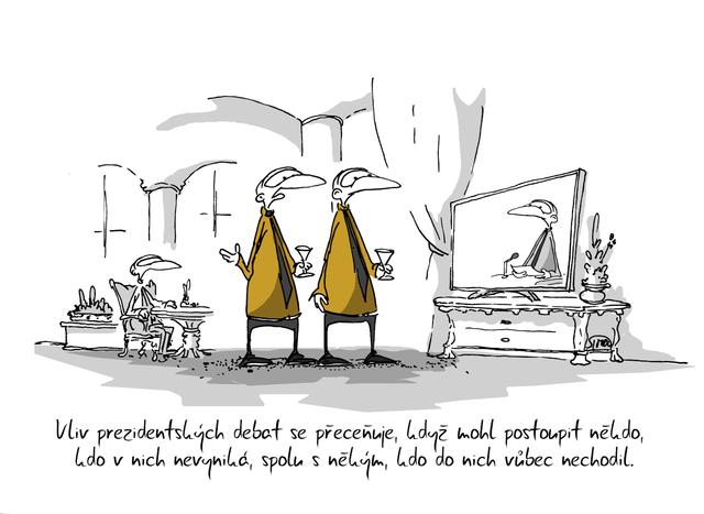 Kreslený vtip: Vliv prezidentských debat se přeceňuje, když mohl postoupit někdo, kdo v nich nevyniká, spolu s někým, kdo do nich vůbec nechodil. Autor: Marek Simon
