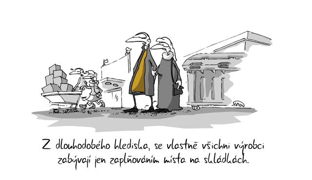 Kreslený vtip: Z dlouhodobého hlediska se vlastně všichni výrobci zabývají jen zaplňováním místa na skládkách. Autor: Marek Simon