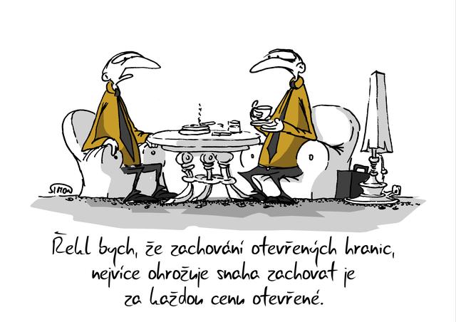 Kreslený vtip: Řekl bych, že zachování otevřených hranic nejvíce ohrožuje snaha zachovat je za každou cenu otevřené. Autor: Marek Simon
