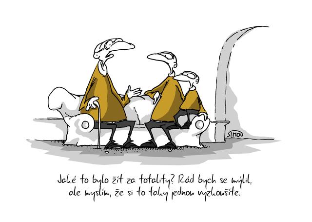 Kreslený vtip: Jaké to bylo žít za totality? Rád bych se mýlil, ale myslím, že si to taky jednou vyzkoušíte. Autor: Marek Simon