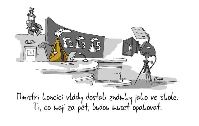 Kreslený vtip: Ministři končící vlády dostali známky jsko ve škole. Ti, co mají za pět, budou muset opakovat. Autor: Marek Simon
