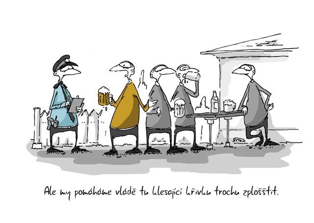 Kreslený vtip: Ale my pomáháme vládě tu klesající křivku trochu zplošštit. Autor: Marek Simon