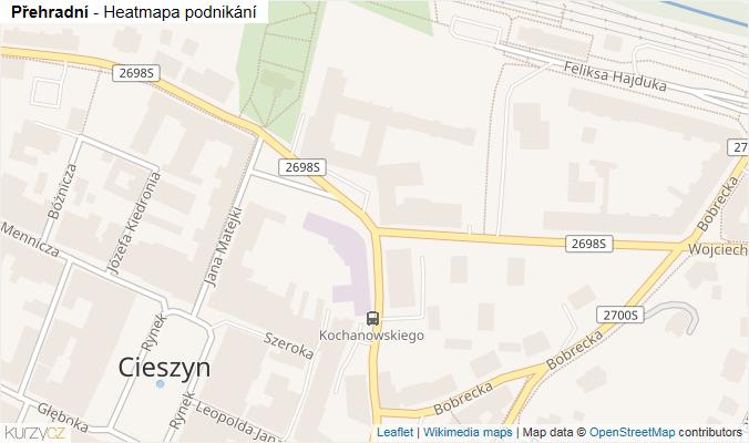 Mapa Přehradní - Firmy v ulici.