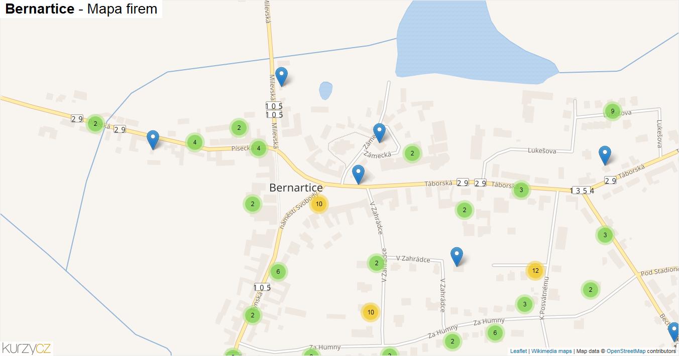 Bernartice - mapa firem