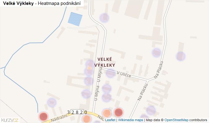 Mapa Velké Výkleky - Firmy v části obce.