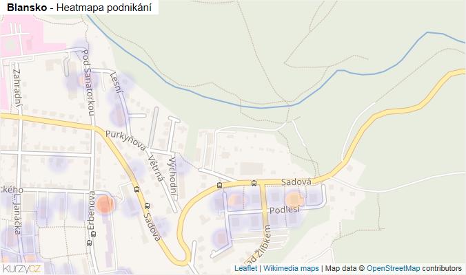 Mapa Blansko - Firmy v obci.