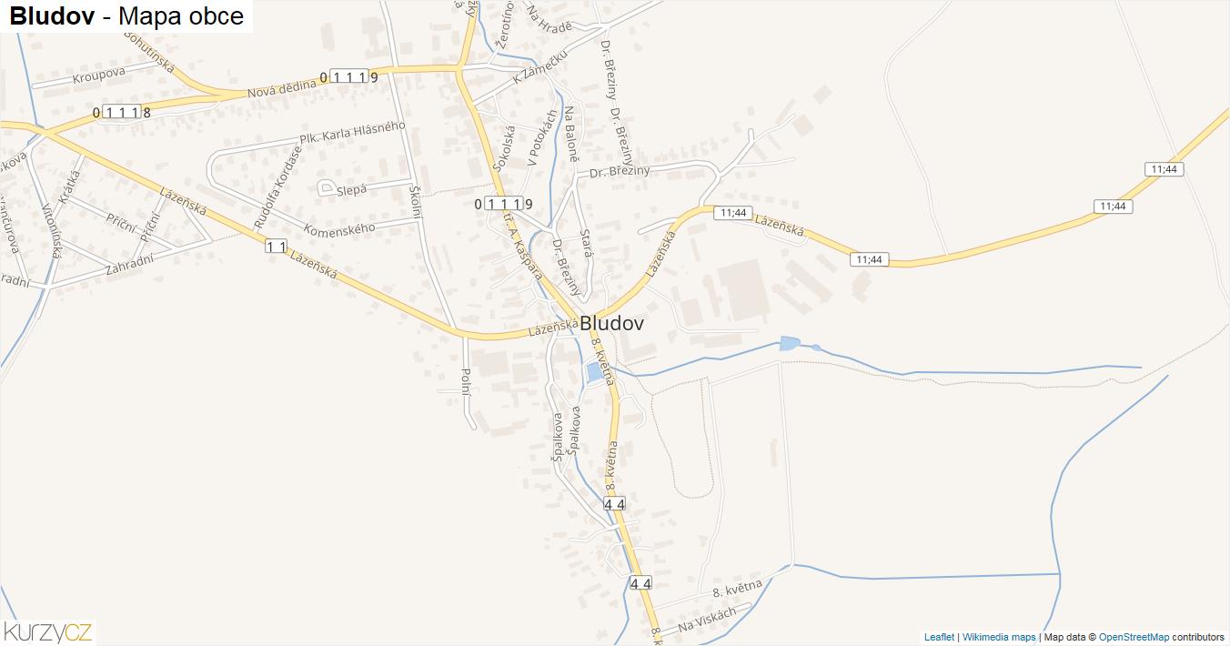 Bludov - mapa obce