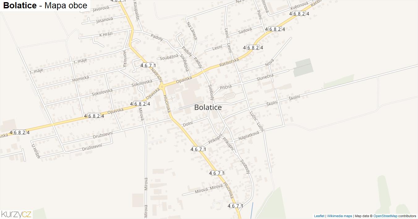 Bolatice - mapa obce