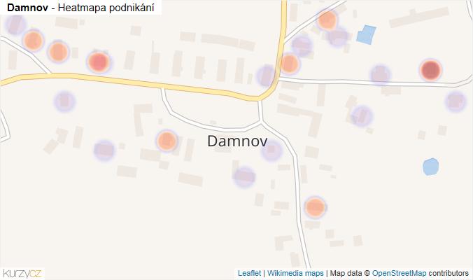 Mapa Damnov - Firmy v části obce.