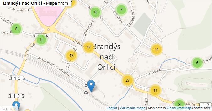 Mapa Brandýs nad Orlicí - Firmy v části obce.