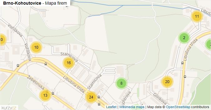Mapa Brno-Kohoutovice - Firmy v městské části.