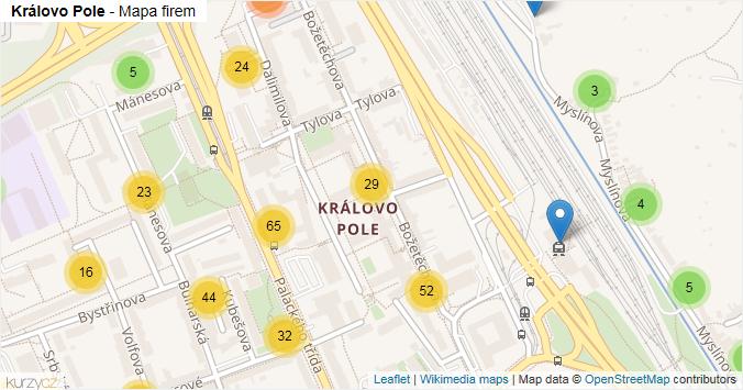 Mapa Královo Pole - Firmy v části obce.