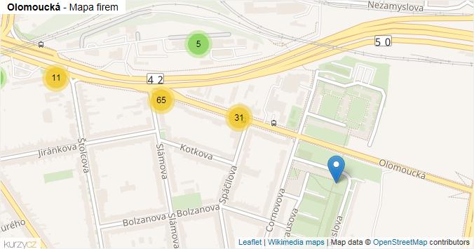 Mapa Olomoucká - Firmy v ulici.