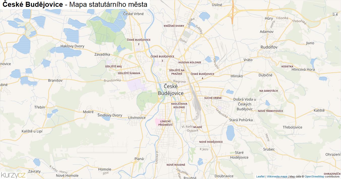 České Budějovice - mapa statutárního města