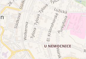 Vrchlického v obci Děčín - mapa ulice