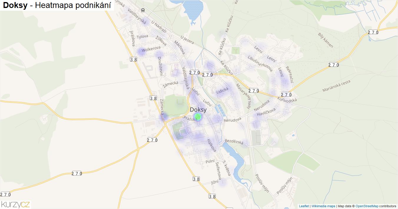 Doksy - mapa podnikání