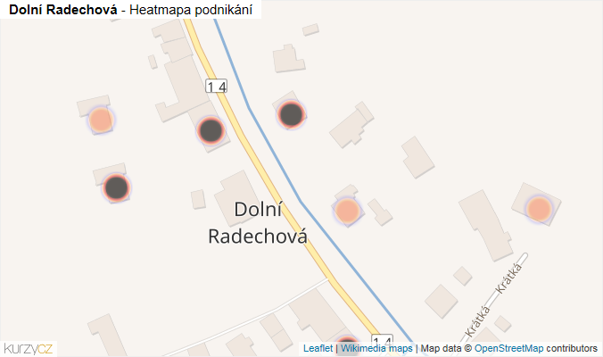 Mapa Dolní Radechová - Firmy v obci.