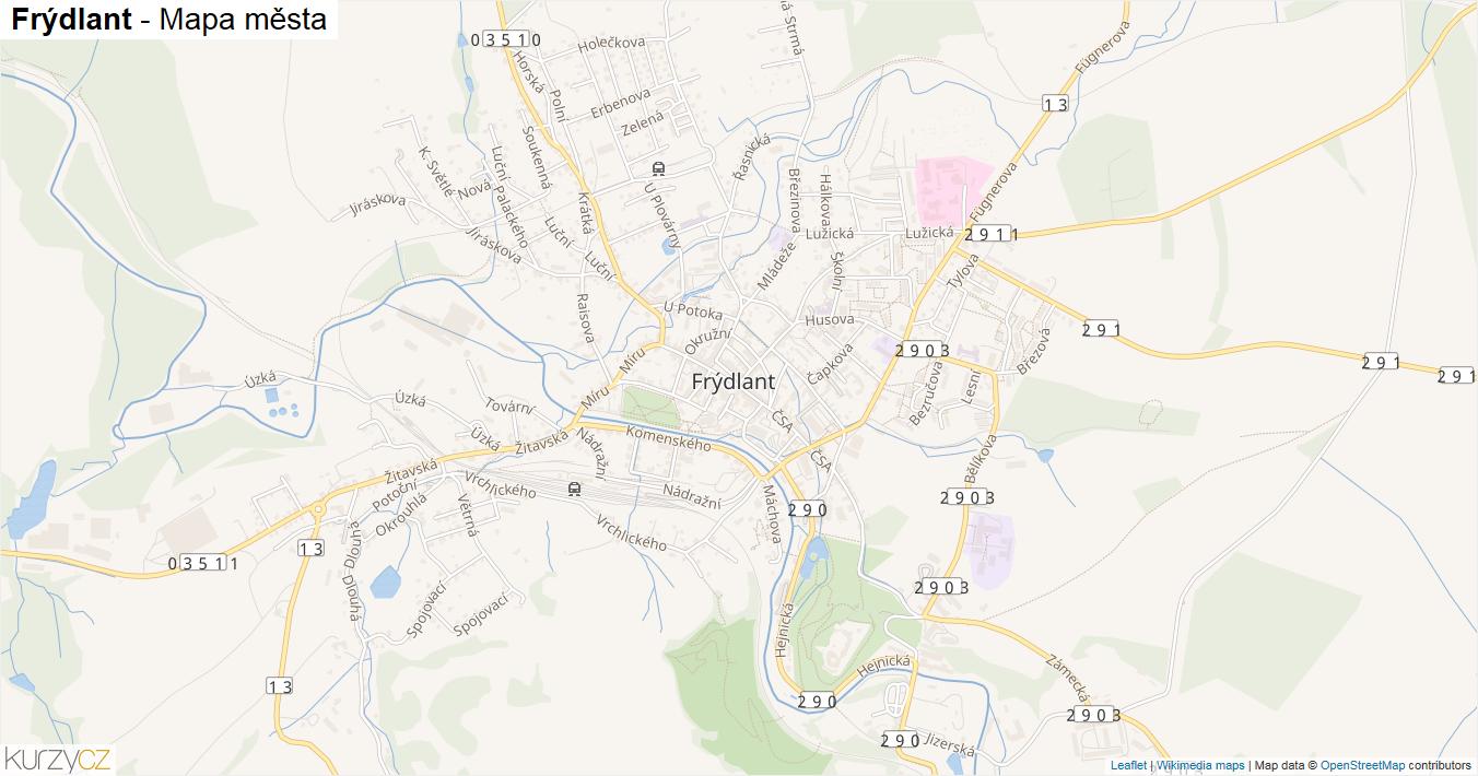 Frýdlant - mapa města
