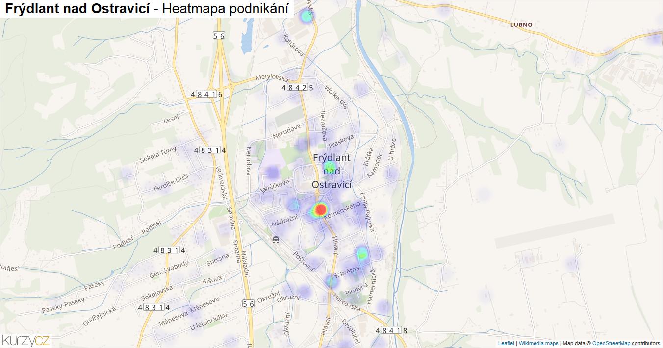 Frýdlant nad Ostravicí - mapa podnikání