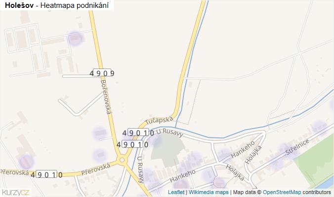 Mapa Holešov - Firmy v obci.