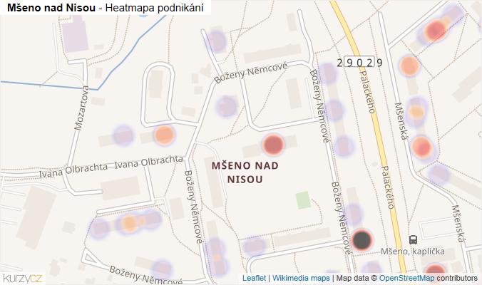 Mapa Mšeno nad Nisou - Firmy v části obce.