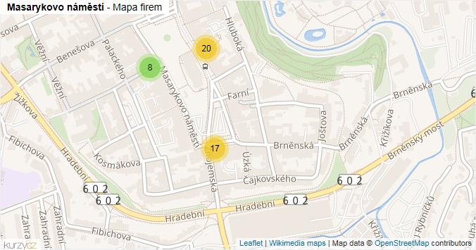 Mapa Masarykovo náměstí - Firmy v ulici.
