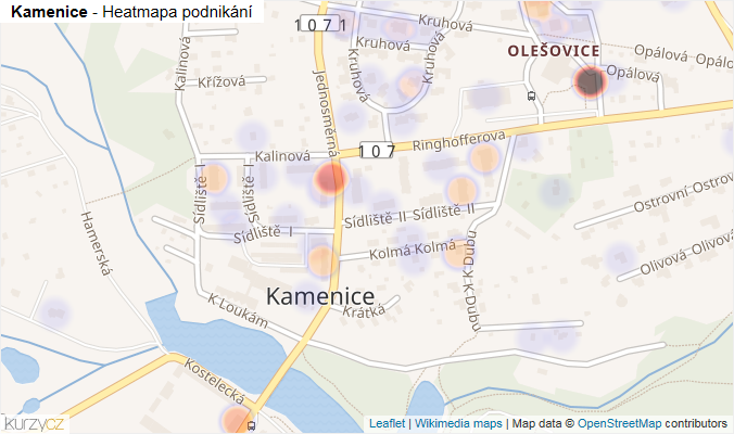 Mapa Kamenice - Firmy v obci.