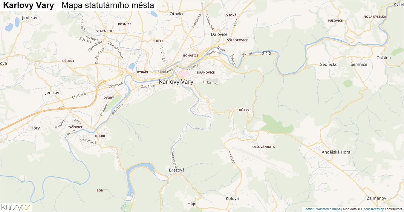 Karlovy Vary - mapa statutárního města