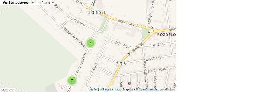 Mapa Ve Strnadovně - Firmy v ulici.