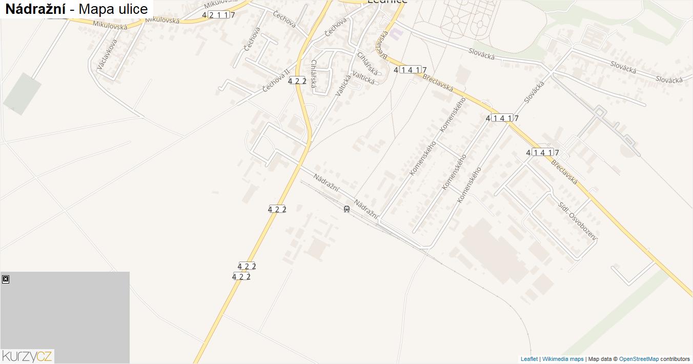 Nádražní - mapa ulice