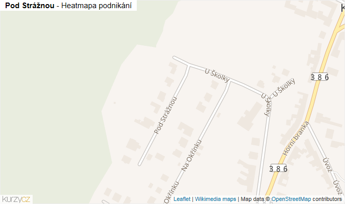 Mapa Pod Strážnou - Firmy v ulici.
