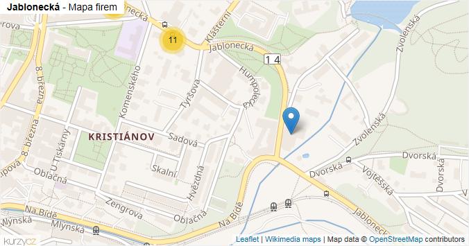 Mapa Jablonecká - Firmy v ulici.