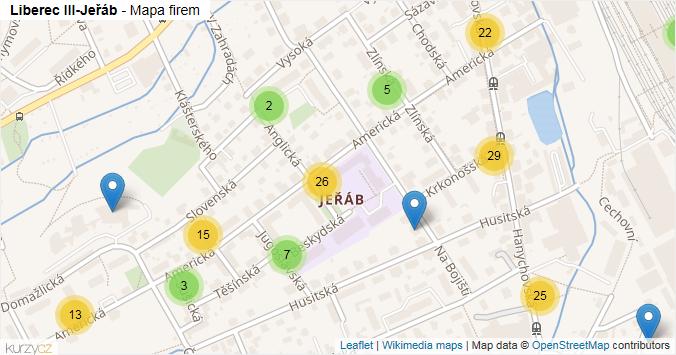 Mapa Liberec III-Jeřáb - Firmy v části obce.